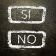 Si or no written on the blackboard with white chalk. Your choice as a concept. — Stock Photo #19402525