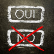 Oui or no written on the blackboard with white chalk. Your choice as a concept. — Stock Photo