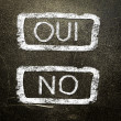Oui or no written on the blackboard with white chalk. Your choice as a concept. — Stock Photo #19402697