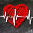 Heartbeat character and design, love heart on a chalkboard — Stock Photo