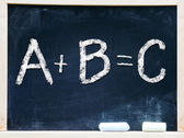 ABC handwritten chalk on a blackboard — Stock Photo