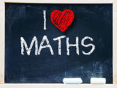 I love maths phrase handwritten on blackboard — Stock Photo