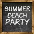 Summer beach party handwritten on blackboard — Stockfoto