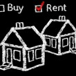 Stock Photo: Buy or Rent house on blackboard