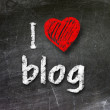 I love my blog handwritten with white chalk on a blackboard — Stock Photo #27381887