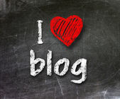 I love my blog handwritten with white chalk on a blackboard — Stock Photo