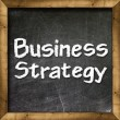 Business strategy handwritten with white chalk on a blackboard. — Stock Photo