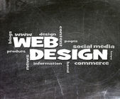 Web Design handwritten with white chalk on a blackboard. — Stock Photo