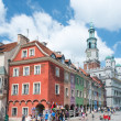 The elevation of houses in the Old Market Square in Poznan, Poland — Stock Photo