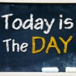 Stock Photo: Today is day on chalkboard
