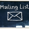 Mailing list words and symbol — Stok fotoğraf