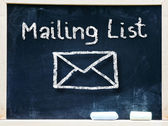 Mailing list words and symbol — Stock Photo
