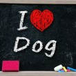 I love Dog handwritten with white chalk — Stock Photo #30533339