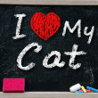 I love my Cat handwritten with white chalk — Stock Photo #30533517