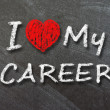 I love my career handwritten with white chalk — Stockfoto