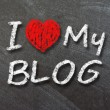 I love my blog handwritten with white chalk — Stock Photo