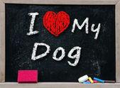 I love my Dog handwritten with white chalk — Stock Photo