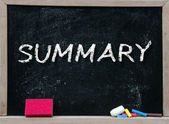 Summary handwritten with white chalk — Stock Photo
