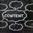"""Content"" handwritten with white chalk in clouds — Stock Photo #30728053"
