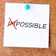The word Impossible turning into Possible — Stock Photo