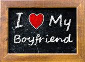 I love My Boyfriend handwritten with chalk — Stock Photo
