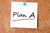 Plan A, written on an white sticky note — Stock Photo