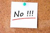 No on white sticky note — Stock Photo