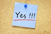 Yes on blue sticky note — Stock Photo