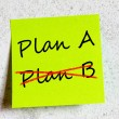 Plan A or plan B written on an white sticky note — Stok fotoğraf