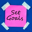 Set Goals on pink sticky paper — Stock Photo
