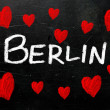 Berlin written on a used blackboard  — ストック写真
