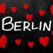 Berlin written on a used blackboard  — 图库照片