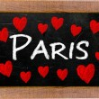 Paris written on a used blackboard — Stock Photo
