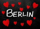 Berlin written on a used blackboard — Stock Photo