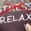 Crossing out stress and writing relax — Stock Photo