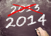 Blackboard with 2013 and 2014 — Stock Photo