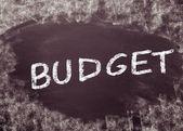 Budget handwritten with chalk on a blackboard — Stock Photo
