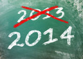 Greenboard with 2013 and 2014 — Stock Photo