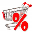 Shopping supermarket cart, percent sign — Zdjęcie stockowe