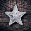 Star on wood background — Stock Photo