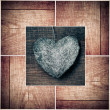 Stock Photo: Heart on wood collage