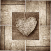 Heart on wood collage — Stock Photo