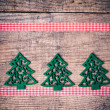 Stock Photo: Christmas tree and ribbon decorations