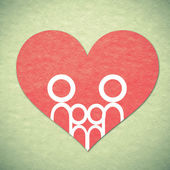 Family and heart background — Stock Photo