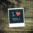 Old pictures on wood background.Handwrit ten I Love You — Stock Photo