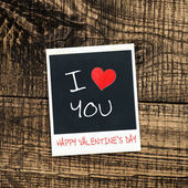 Old pictures on wood background.Handwrit ten I Love You — Stockfoto