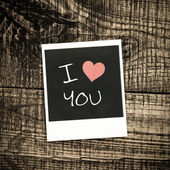 Old pictures on wood background.Handwrit ten I Love You — Foto Stock
