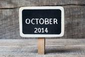 Ottobre 2014 lavagna incorniciata in legno piccolo — Foto Stock