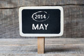May 2014 on Small wooden framed blackboard — Stock Photo