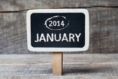 January 2014 on Small wooden framed blackboard — Stock Photo